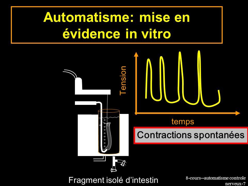 8-cours--automatisme controle nerveux-7 Automatisme: mise en évidence in vitro Fragment isolé dintestin Contractions spontanées Tension temps