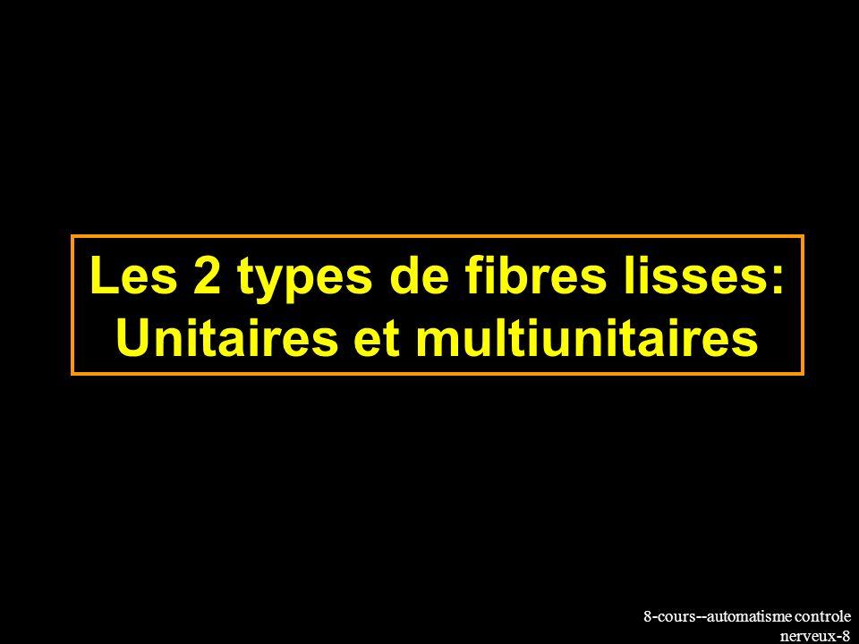 8-cours--automatisme controle nerveux-9 Fibres lisses unitaires et multiunitaires Unitaires la plupart des fibres lisses gastro- intestinales Activité spontanée (myogénique) létirement provoque la contraction contraction indépendante dune commande nerveuse Pas de jonctions neuromusculaires Multi-unitaire.Réticulo-rumen, vessie Pas dactivité spontanée pas de réponse à létirement activation par des neurones moteurs présence de jonctions neuromusculaires Synaptic vesicles Motor axon Synaptic vesicles Motor axon varicosities