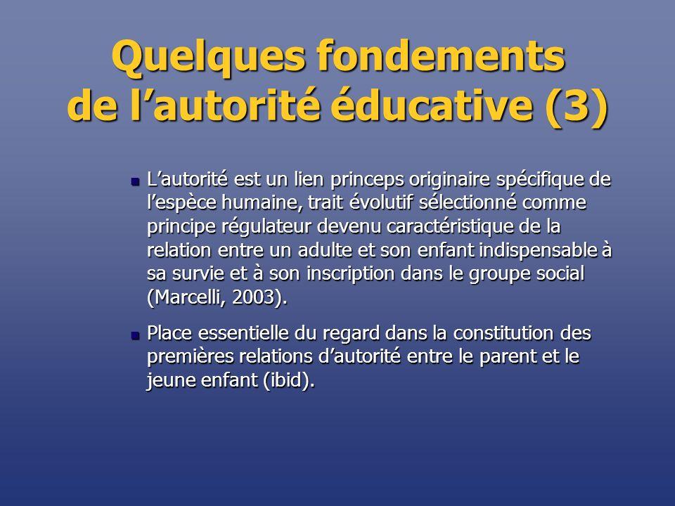 Quelques fondements de lautorité éducative (3) Lautorité est un lien princeps originaire spécifique de lespèce humaine, trait évolutif sélectionné com