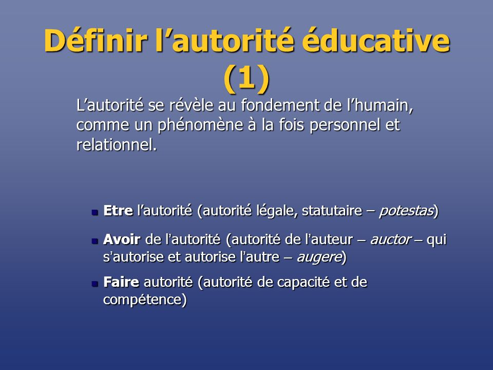 Définir lautorité éducative (1) Etre lautorité (autorité légale, statutaire – potestas) Etre lautorité (autorité légale, statutaire – potestas) Avoir