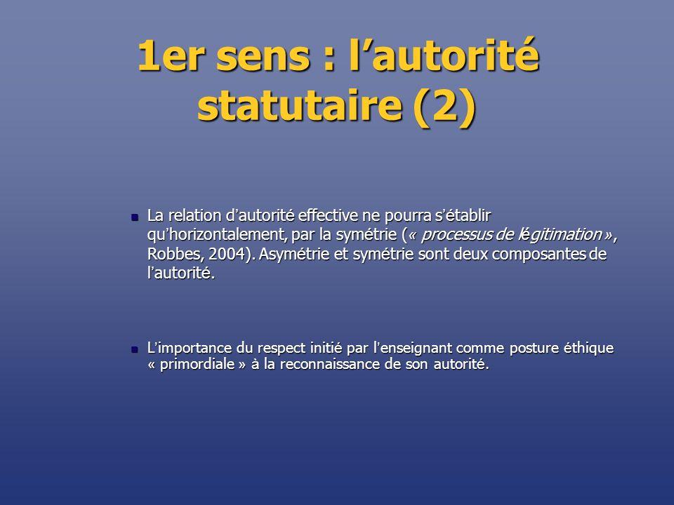 1er sens : lautorité statutaire (2) La relation d autorit é effective ne pourra s é tablir qu horizontalement, par la sym é trie ( « processus de l é