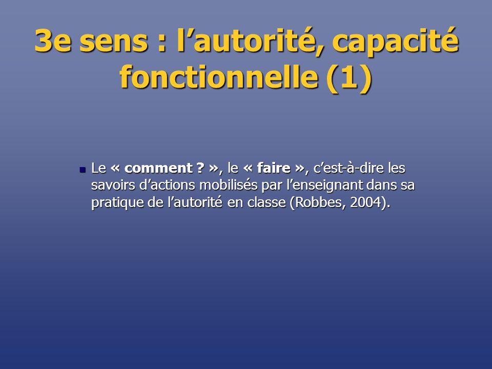 3e sens : lautorité, capacité fonctionnelle (1) Le « comment ? », le « faire », cest-à-dire les savoirs dactions mobilisés par lenseignant dans sa pra