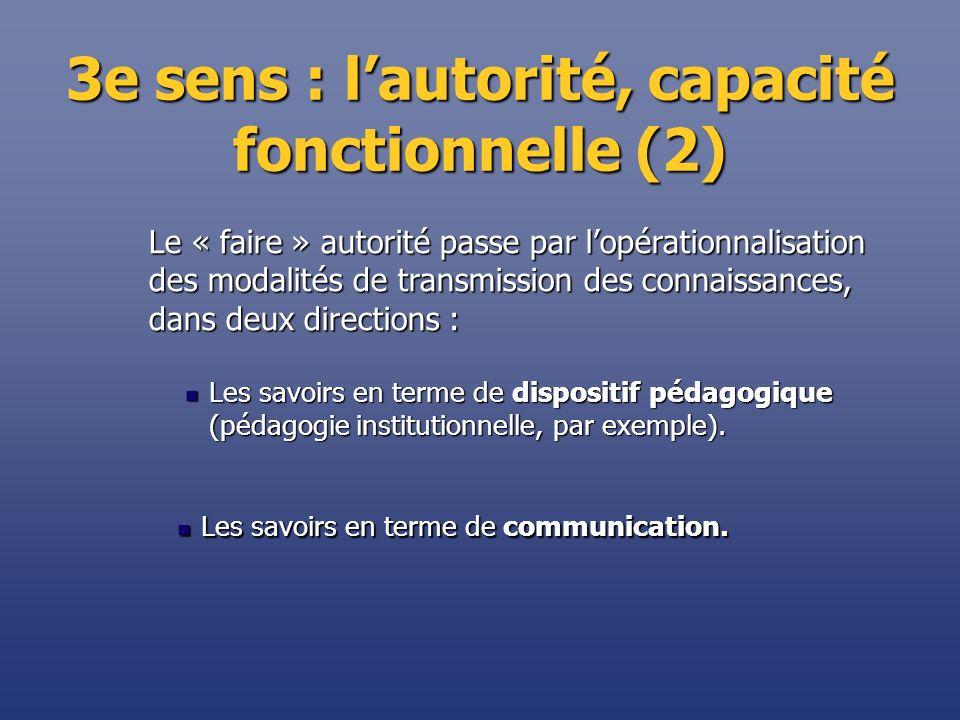 3e sens : lautorité, capacité fonctionnelle (2) Les savoirs en terme de dispositif pédagogique (pédagogie institutionnelle, par exemple). Les savoirs