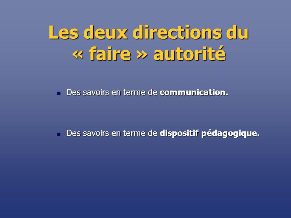 Les deux directions du « faire » autorité Des savoirs en terme de communication. Des savoirs en terme de communication. Des savoirs en terme de dispos