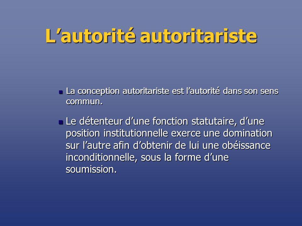 Lautorité autoritariste La conception autoritariste est lautorité dans son sens commun. La conception autoritariste est lautorité dans son sens commun