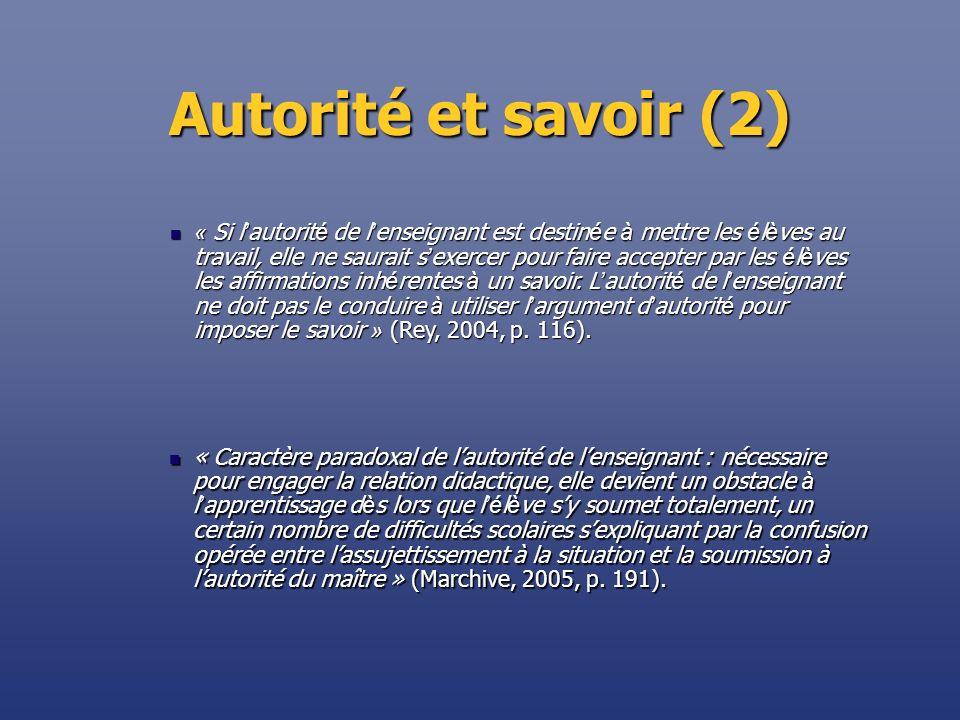 Autorité et savoir (2) « Caractère paradoxal de lautorité de lenseignant : nécessaire pour engager la relation didactique, elle devient un obstacle à