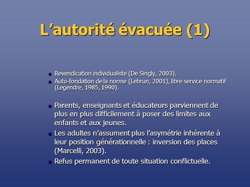 Lautorité évacuée (2) Il considère que lexercice de lautorité ne relève pas de sa mission.
