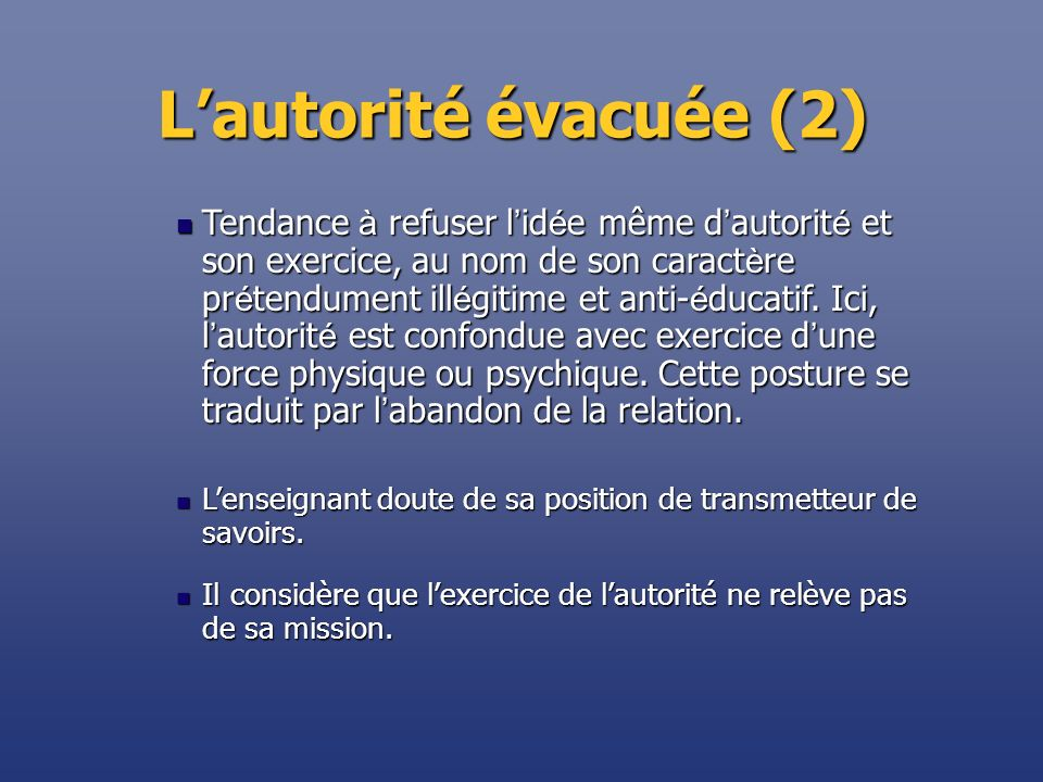 Lautorité évacuée (2) Il considère que lexercice de lautorité ne relève pas de sa mission. Il considère que lexercice de lautorité ne relève pas de sa