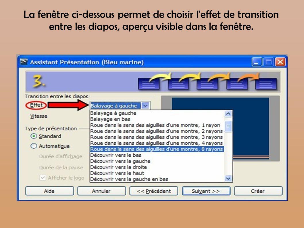 La fenêtre ci-dessous permet de choisir l'effet de transition entre les diapos, aperçu visible dans la fenêtre.