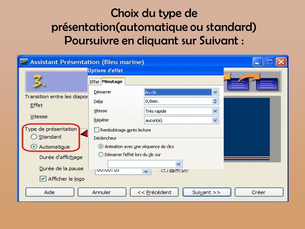 Choix du type de présentation(automatique ou standard) Poursuivre en cliquant sur Suivant :