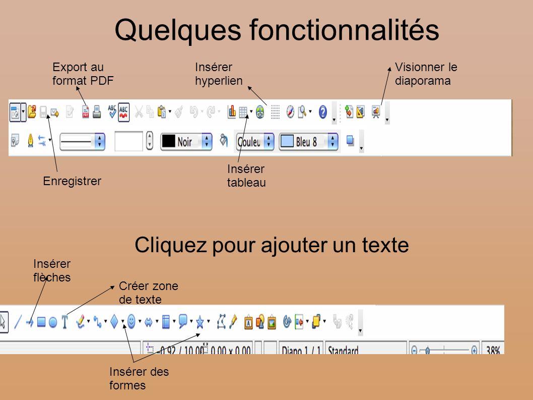 Cliquez pour ajouter un texte Quelques fonctionnalités Créer zone de texte Visionner le diaporama Insérer hyperlien Insérer des formes Export au forma