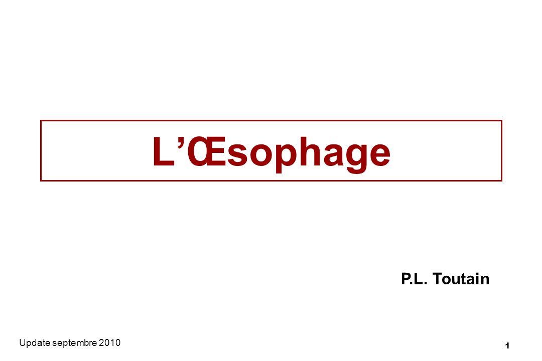 12 Le sphincter œsophagien supérieur Situé à lextrémité orale de lœsophage Fibres musculaires striées identifiées au muscle cricopharingien.