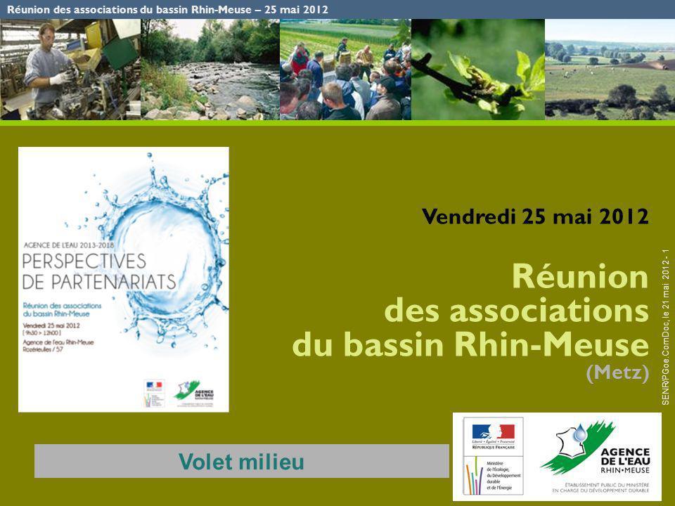 Réunion des associations du bassin Rhin-Meuse – 25 mai 2012 SENR/PGoe.ComDoc, le 21 mai 2012 - 1 Vendredi 25 mai 2012 Réunion des associations du bass