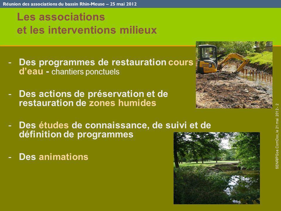 Réunion des associations du bassin Rhin-Meuse – 25 mai 2012 SENR/PGoe.ComDoc, le 21 mai 2012 - 2 Les associations et les interventions milieux -Des pr