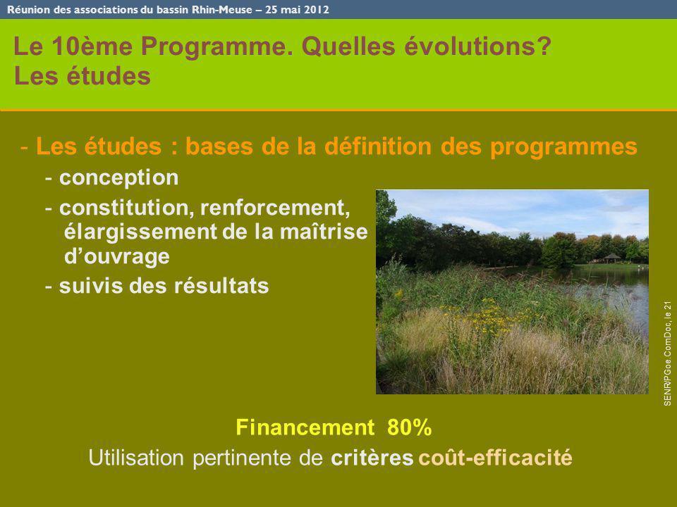 Réunion des associations du bassin Rhin-Meuse – 25 mai 2012 SENR/PGoe.ComDoc, le 21 mai 2012 - 3 Le 10ème Programme. Quelles évolutions? Les études -