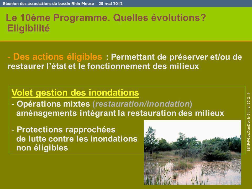 Réunion des associations du bassin Rhin-Meuse – 25 mai 2012 SENR/PGoe.ComDoc, le 21 mai 2012 - 4 Le 10ème Programme. Quelles évolutions? Eligibilité -