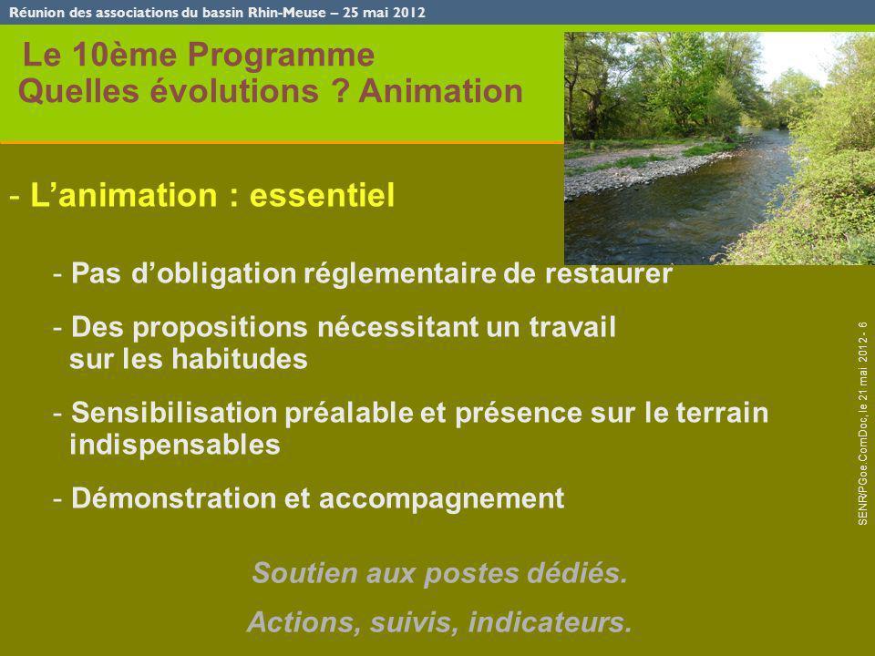 Réunion des associations du bassin Rhin-Meuse – 25 mai 2012 SENR/PGoe.ComDoc, le 21 mai 2012 - 6 Le 10ème Programme Quelles évolutions ? Animation - L