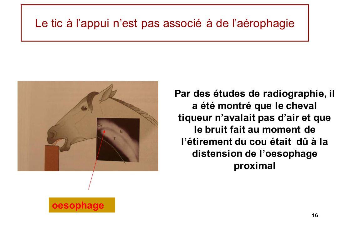 16 Le tic à lappui nest pas associé à de laérophagie Par des études de radiographie, il a été montré que le cheval tiqueur navalait pas dair et que le bruit fait au moment de létirement du cou était dû à la distension de loesophage proximal oesophage