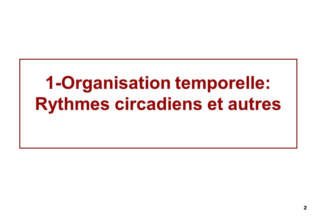 2 1-Organisation temporelle: Rythmes circadiens et autres