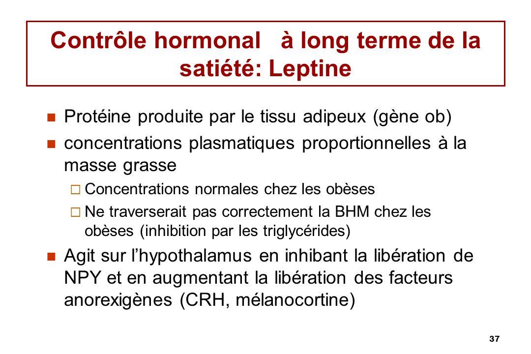 37 Contrôle hormonal à long terme de la satiété: Leptine Protéine produite par le tissu adipeux (gène ob) concentrations plasmatiques proportionnelles à la masse grasse Concentrations normales chez les obèses Ne traverserait pas correctement la BHM chez les obèses (inhibition par les triglycérides) Agit sur lhypothalamus en inhibant la libération de NPY et en augmentant la libération des facteurs anorexigènes (CRH, mélanocortine)