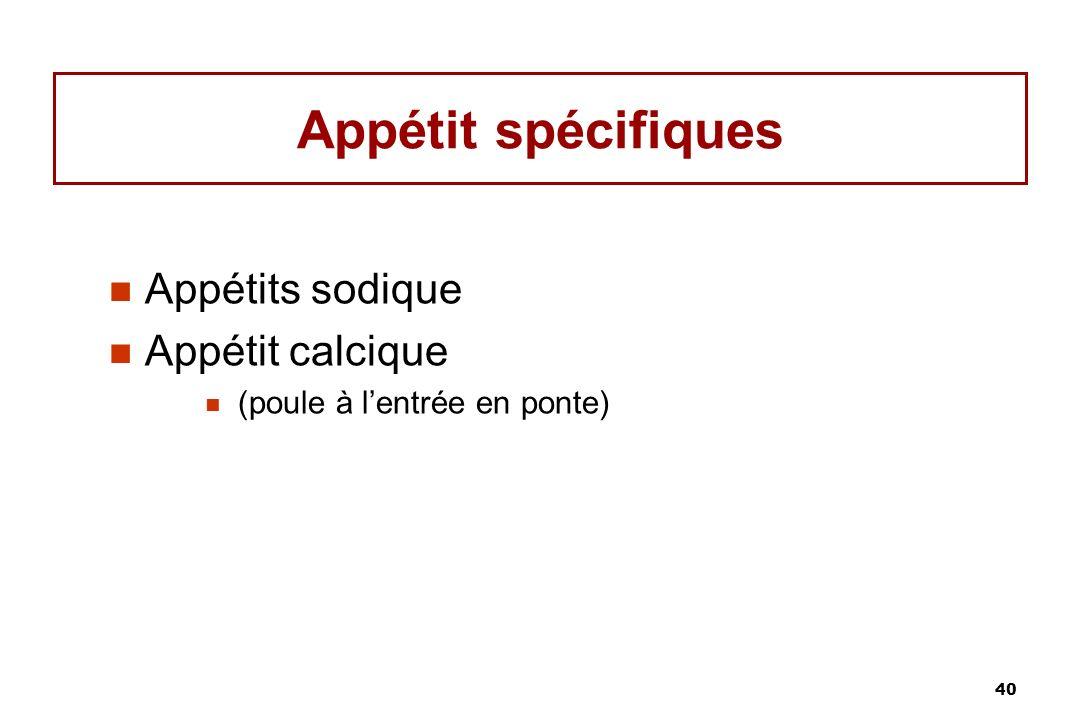 40 Appétit spécifiques Appétits sodique Appétit calcique (poule à lentrée en ponte)