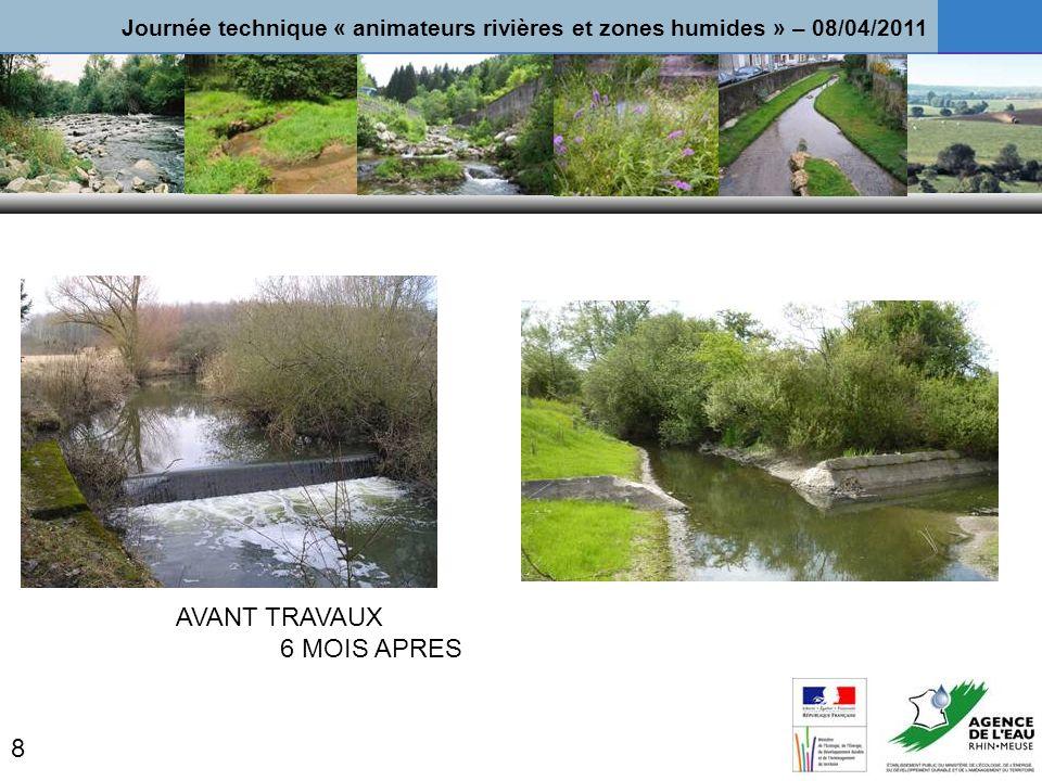 AVANT TRAVAUX 6 MOIS APRES 8 Journée technique « animateurs rivières et zones humides » – 08/04/2011