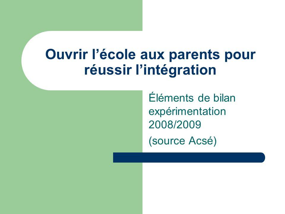 Ouvrir lécole aux parents pour réussir lintégration Éléments de bilan expérimentation 2008/2009 (source Acsé)