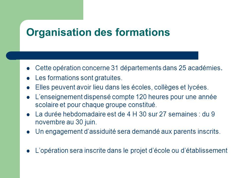 Organisation des formations Cette opération concerne 31 départements dans 25 académies.