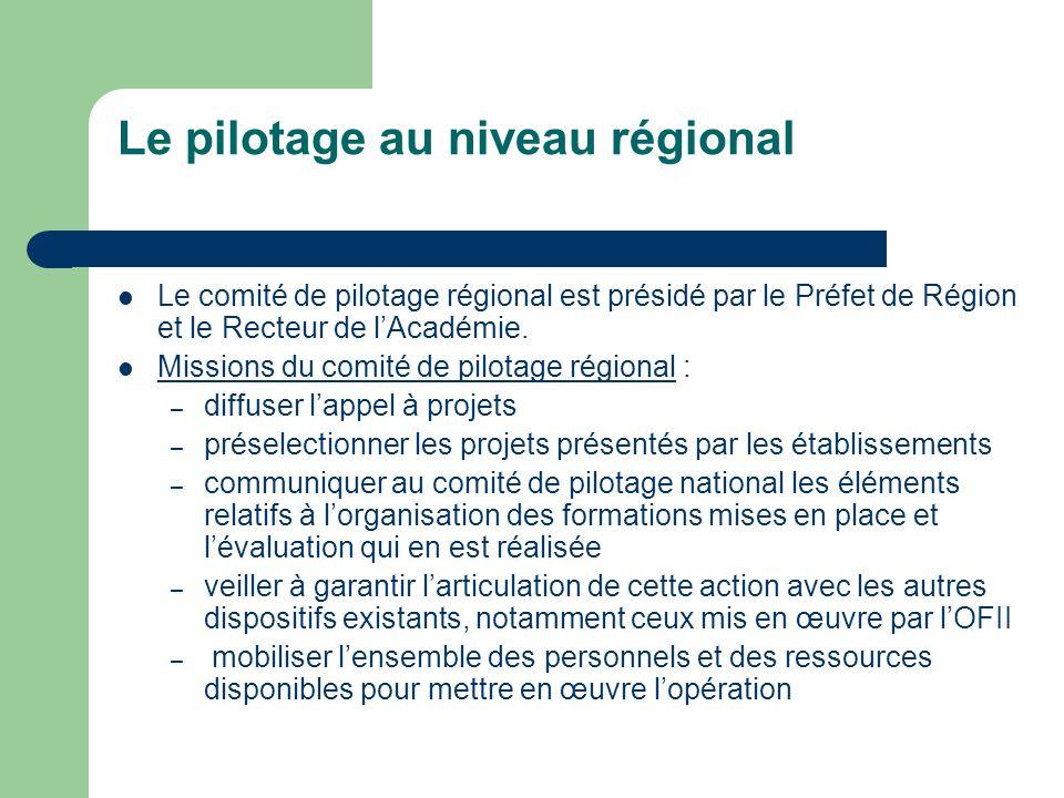 Le pilotage au niveau régional Le comité de pilotage régional est présidé par le Préfet de Région et le Recteur de lAcadémie.