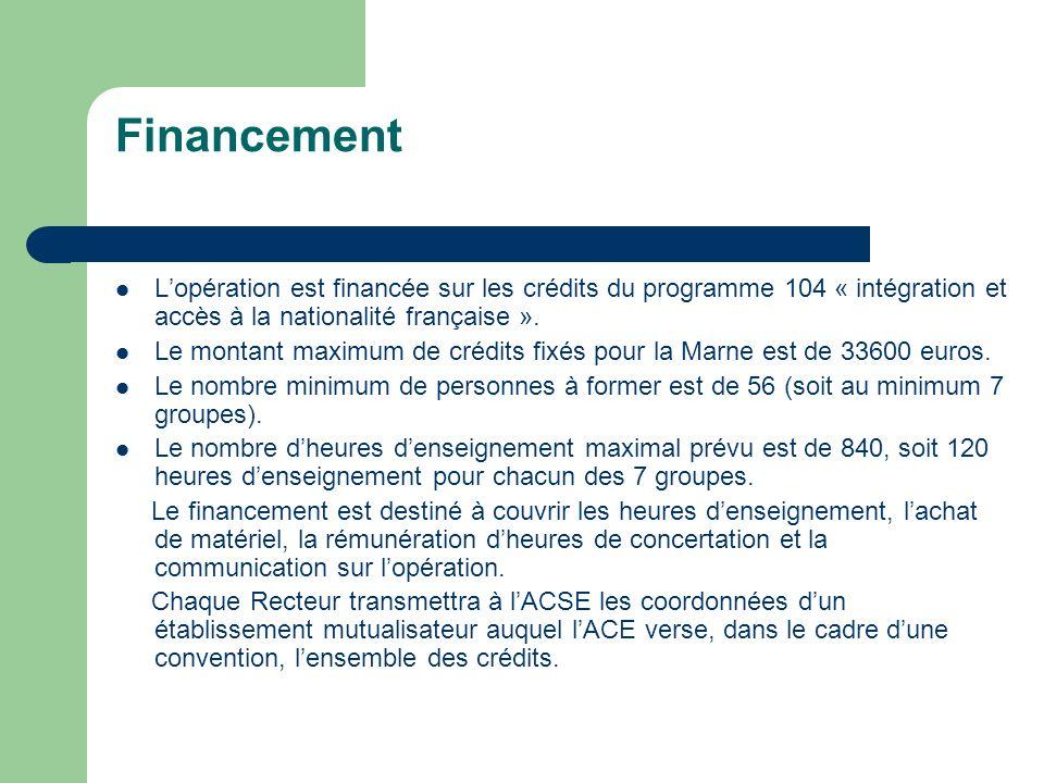 Financement Lopération est financée sur les crédits du programme 104 « intégration et accès à la nationalité française ».