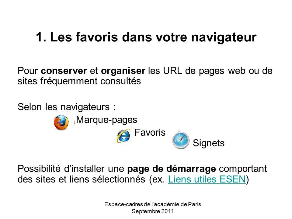 Espace-cadres de l'académie de Paris Septembre 2011 1. Les favoris dans votre navigateur Pour conserver et organiser les URL de pages web ou de sites
