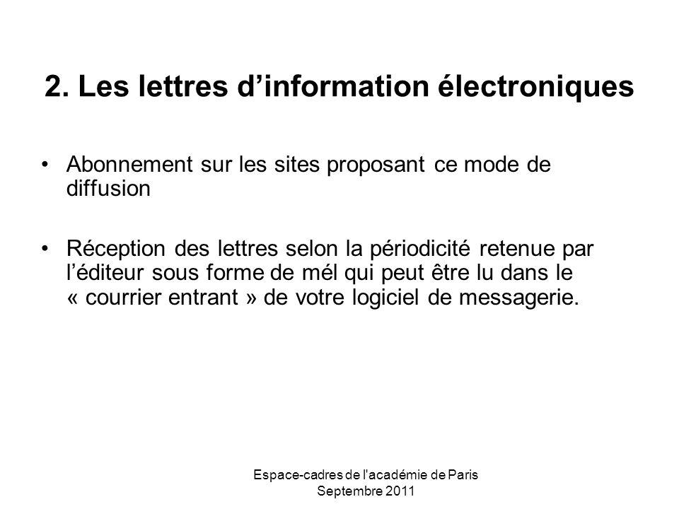 Espace-cadres de l'académie de Paris Septembre 2011 2. Les lettres dinformation électroniques Abonnement sur les sites proposant ce mode de diffusion