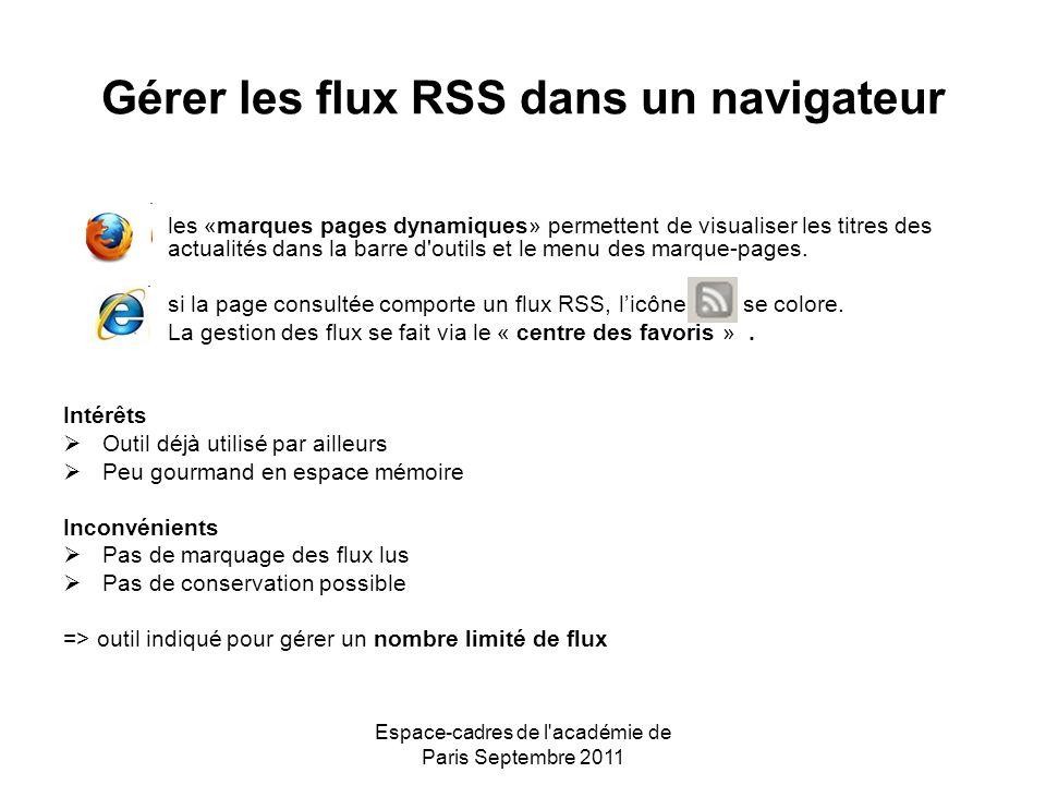 Espace-cadres de l académie de Paris Septembre 2011 Gérer les flux RSS dans un navigateur les «marques pages dynamiques» permettent de visualiser les titres des actualités dans la barre d outils et le menu des marque-pages.