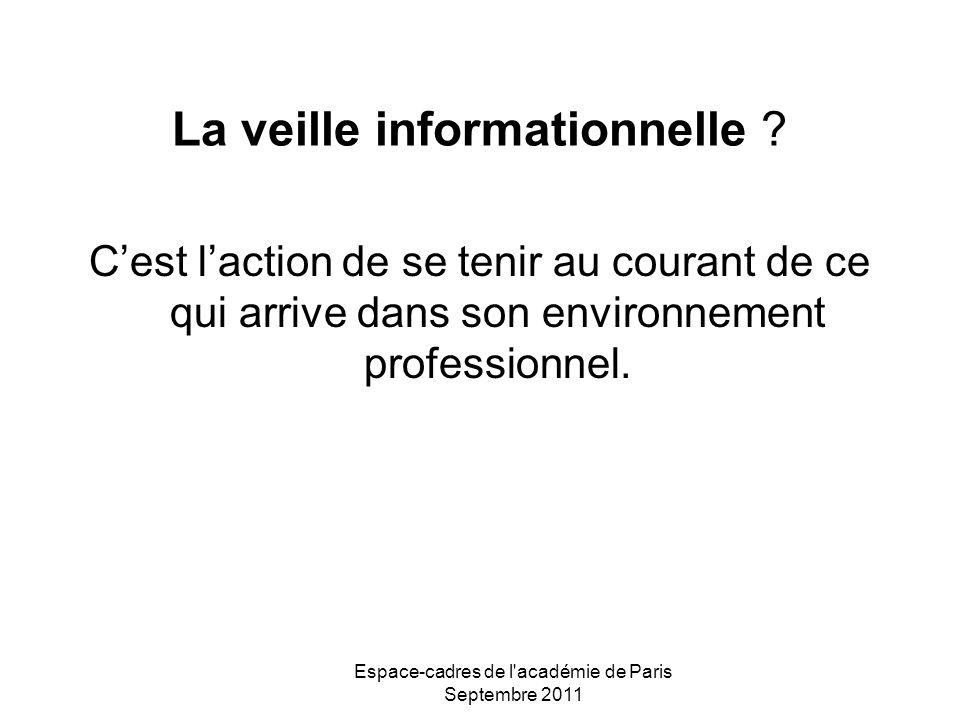 Espace-cadres de l'académie de Paris Septembre 2011 La veille informationnelle ? Cest laction de se tenir au courant de ce qui arrive dans son environ