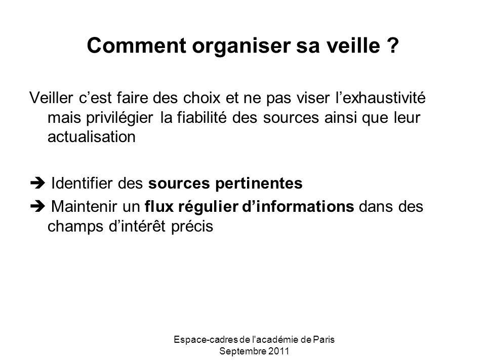 Espace-cadres de l'académie de Paris Septembre 2011 Comment organiser sa veille ? Veiller cest faire des choix et ne pas viser lexhaustivité mais priv