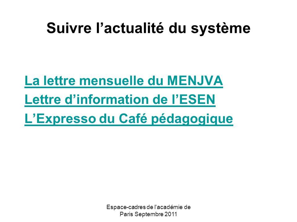 Espace-cadres de l académie de Paris Septembre 2011 Suivre lactualité du système La lettre mensuelle du MENJVA Lettre dinformation de lESEN LExpresso du Café pédagogique