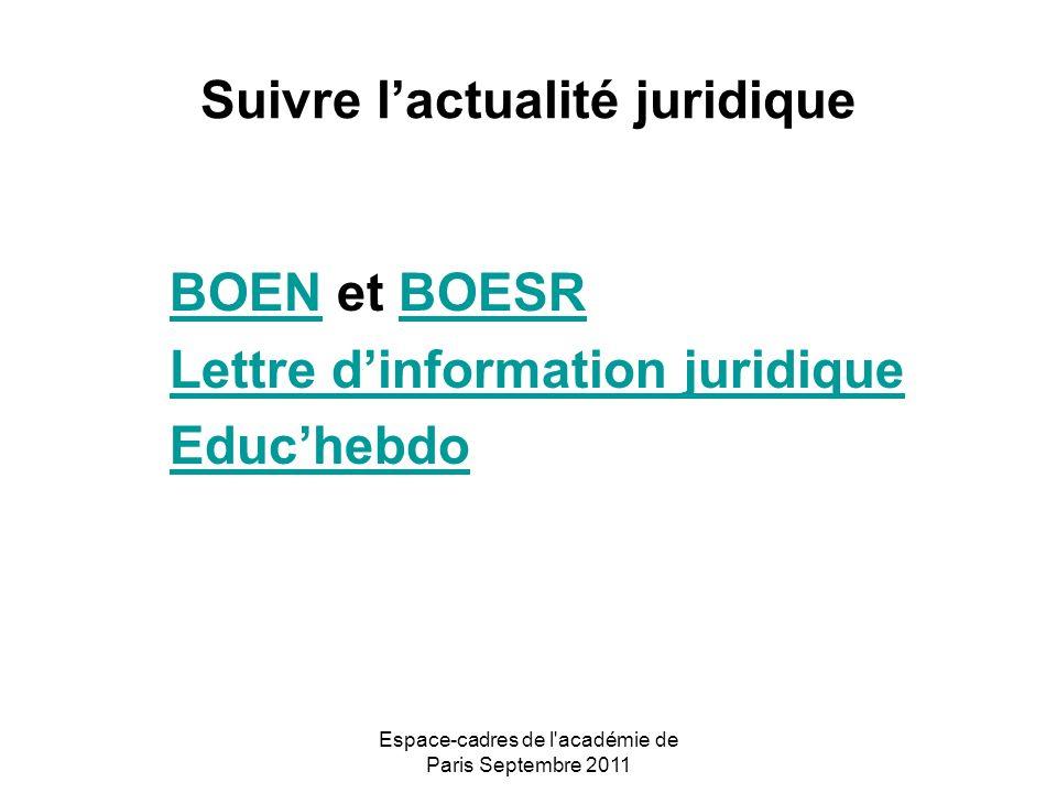 Espace-cadres de l académie de Paris Septembre 2011 Suivre lactualité juridique BOENBOEN et BOESRBOESR Lettre dinformation juridique Educhebdo