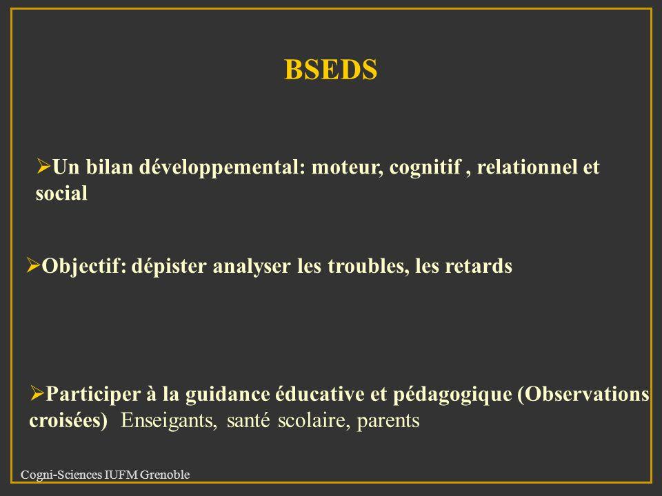 Cogni-Sciences IUFM Grenoble BSEDS Un bilan développemental: moteur, cognitif, relationnel et social Objectif: dépister analyser les troubles, les ret