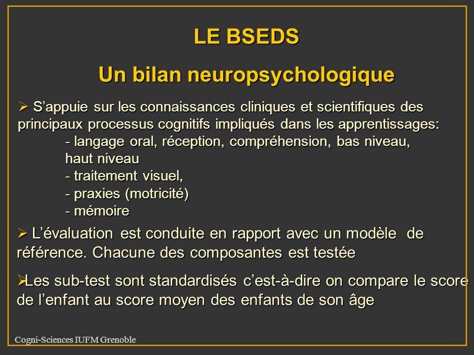 Cogni-Sciences IUFM Grenoble LE BSEDS Un bilan neuropsychologique Sappuie sur les connaissances cliniques et scientifiques des principaux processus co