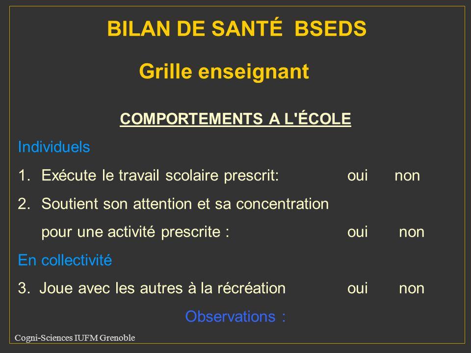Cogni-Sciences IUFM Grenoble COMPORTEMENTS A L'ÉCOLE Individuels 1.Exécute le travail scolaire prescrit: oui non 2.Soutient son attention et sa concen