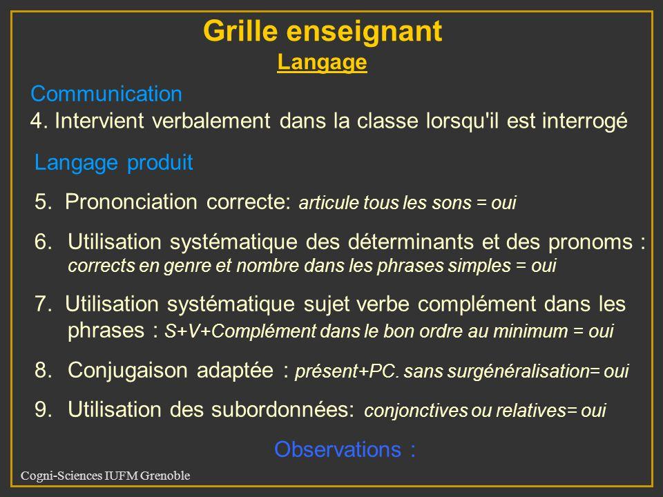 Cogni-Sciences IUFM Grenoble Langage produit 5. Prononciation correcte: articule tous les sons = oui 6.Utilisation systématique des déterminants et de