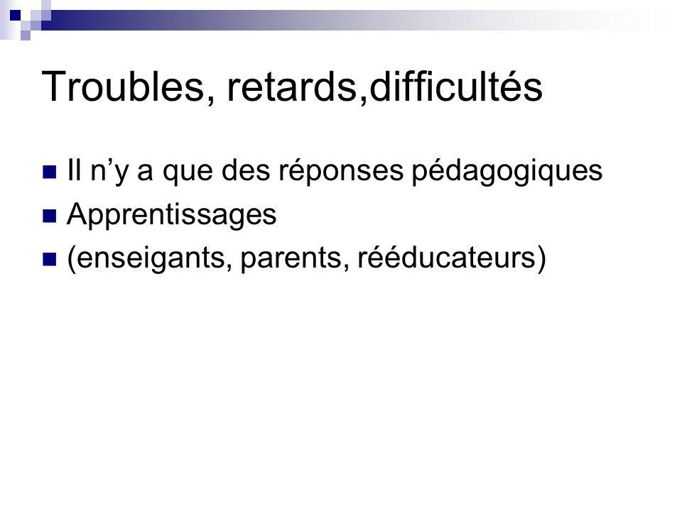 Troubles, retards,difficultés Il ny a que des réponses pédagogiques Apprentissages (enseigants, parents, rééducateurs)