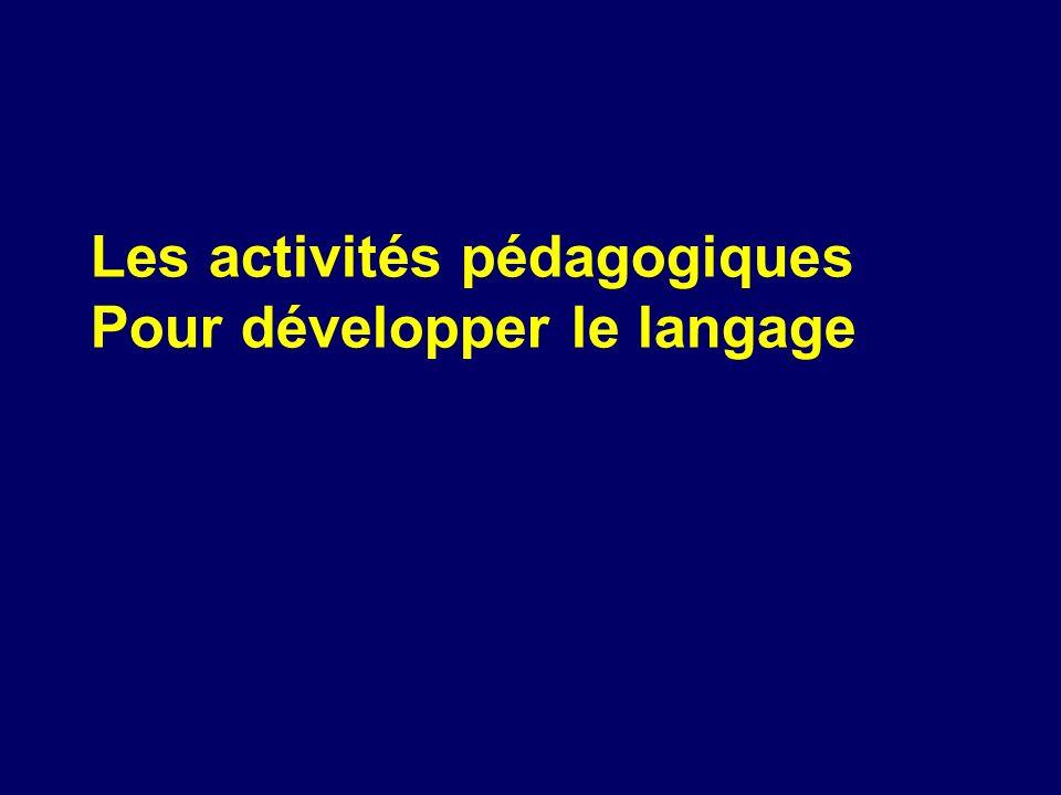 Les activités pédagogiques Pour développer le langage