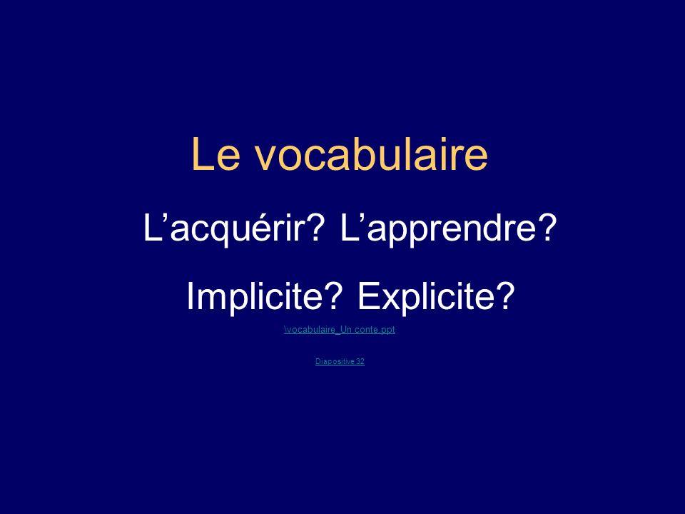 Le vocabulaire Lacquérir? Lapprendre? Implicite? Explicite? \vocabulaire_Un conte.ppt Diapositive 32