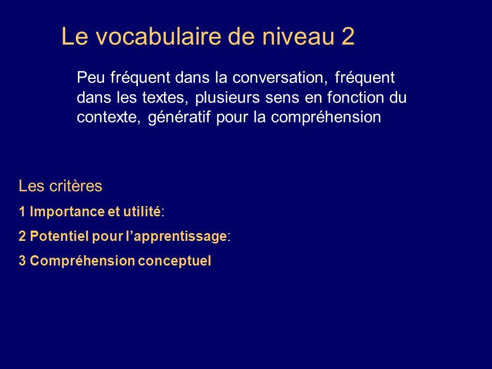 Le vocabulaire de niveau 2 Peu fréquent dans la conversation, fréquent dans les textes, plusieurs sens en fonction du contexte, génératif pour la comp