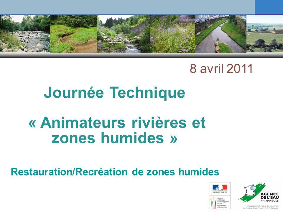 Restauration/Recréation de zones humides Journée Technique « Animateurs rivières et zones humides » 8 avril 2011