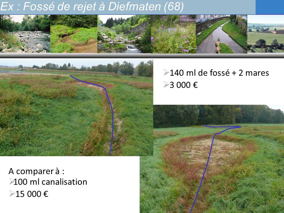 Ex : Fossé de rejet à Diefmaten (68) 140 ml de fossé + 2 mares 3 000 A comparer à : 100 ml canalisation 15 000