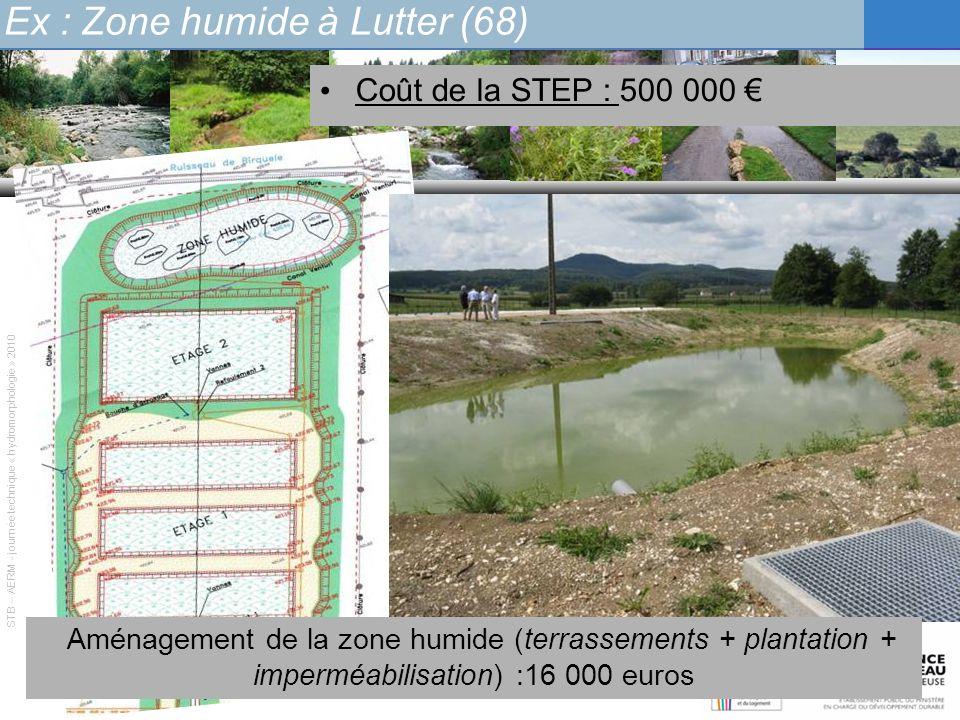 Ex : Zone humide à Lutter (68) STB – AERM - journée technique « hydromorphologie » 2010 Coût de la STEP : 500 000 Aménagement de la zone humide (terra