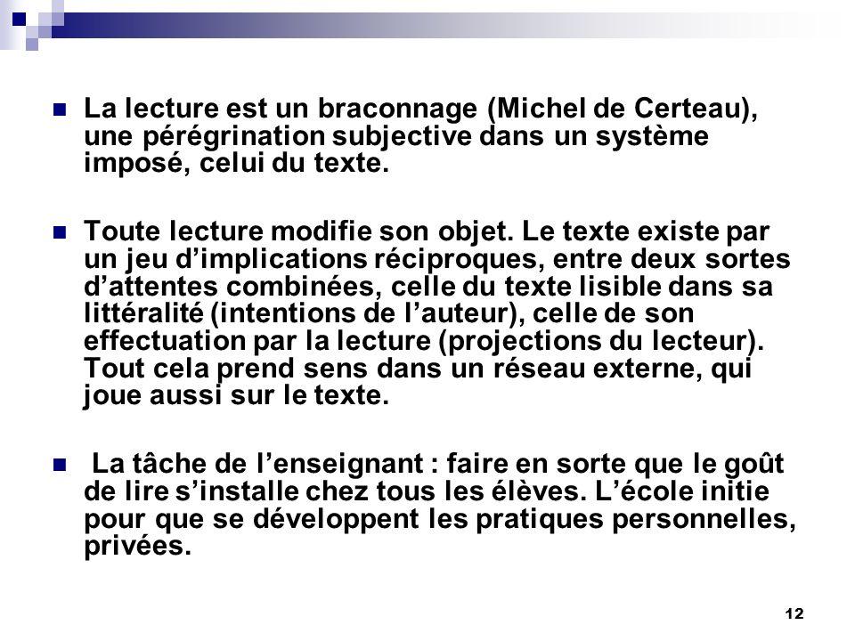 12 La lecture est un braconnage (Michel de Certeau), une pérégrination subjective dans un système imposé, celui du texte.