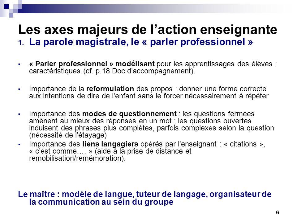 6 Les axes majeurs de laction enseignante 1.